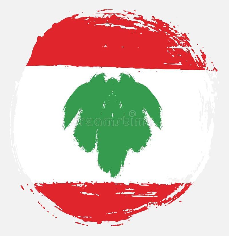 Handen för vektorn för den Libanon cirkelflaggan målade med den rundade borsten stock illustrationer