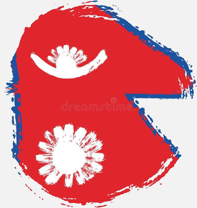 Handen för vektorn för den Nepal cirkelflaggan målade med den rundade borsten vektor illustrationer