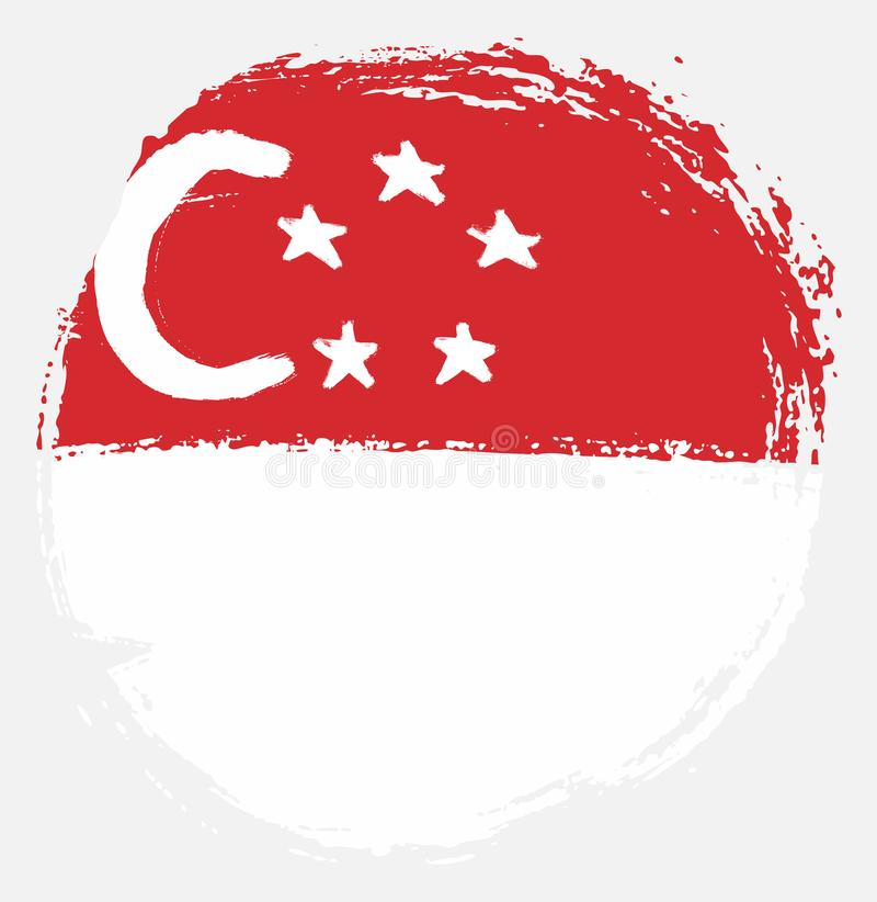 Handen för vektorn för den Singapore cirkelflaggan målade med den rundade borsten vektor illustrationer