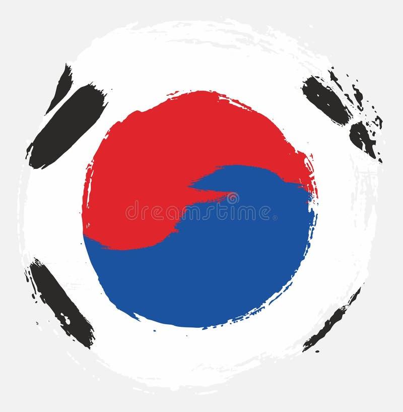 Handen för vektorn för den Sydkorea cirkelflaggan målade med den rundade borsten vektor illustrationer