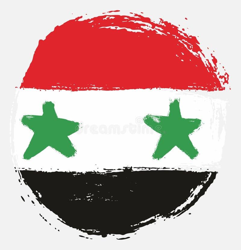 Handen för vektorn för den Syrien cirkelflaggan målade med den rundade borsten stock illustrationer