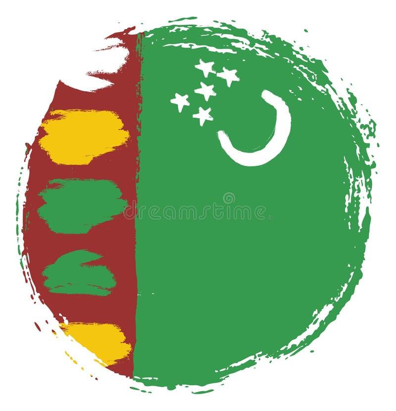 Handen för vektorn för den Turkmenistan cirkelflaggan målade med den rundade borsten stock illustrationer