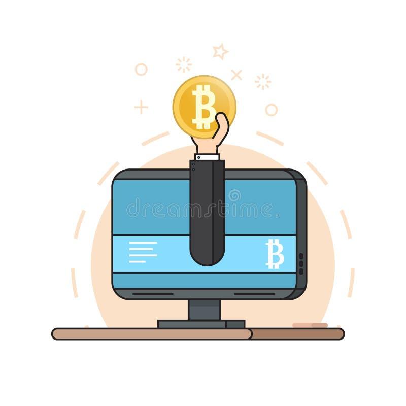 Handen från bildskärm rymmer ett bitcoinmynt Begrepp av att bryta crypto valuta Plan stil stock illustrationer