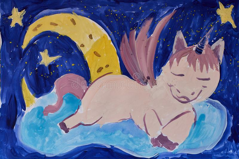 Handen - gjorde illustrationen av en sova enhörning på ett moln royaltyfri illustrationer