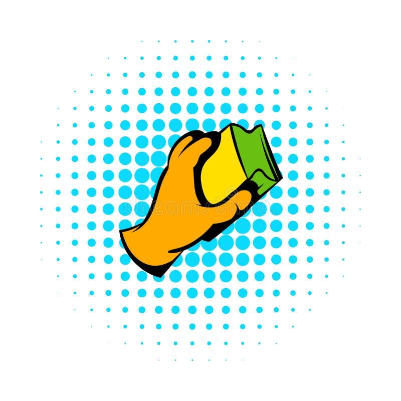 Handen i handskar med trasasymbolen, komiker utformar vektor illustrationer