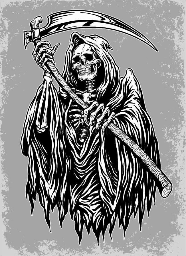 Handen Inked illustrationen för den grymma skördemaskinen vektor illustrationer