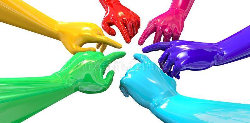 Handen Kleurrijke Cirkel die Binnenkomend Perspectief richten vector illustratie
