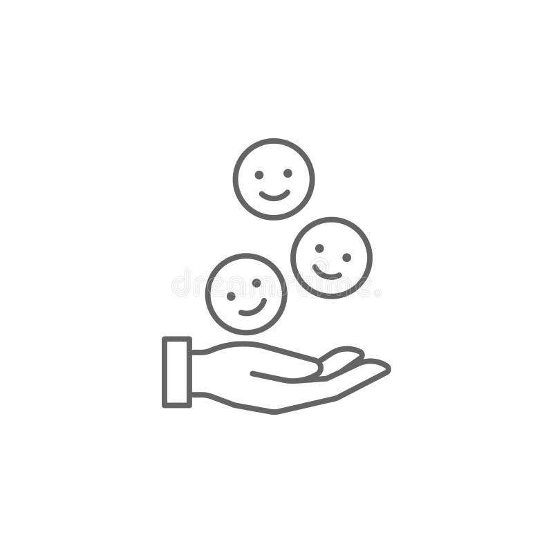 handen ler kamratskapöversiktssymbolen Beståndsdelar av kamratskaplinjen symbol Tecknet, symboler och vektorer kan användas för r stock illustrationer