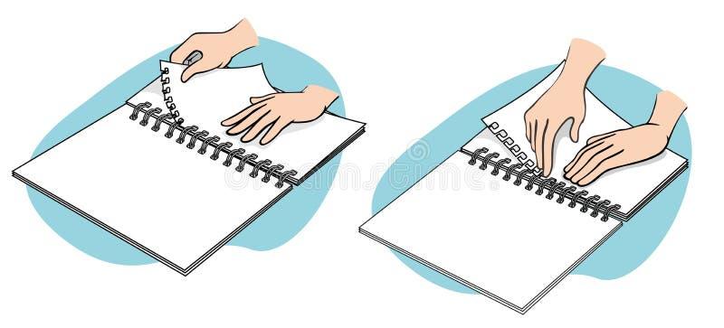 Handen leren voor bindlakens stock illustratie