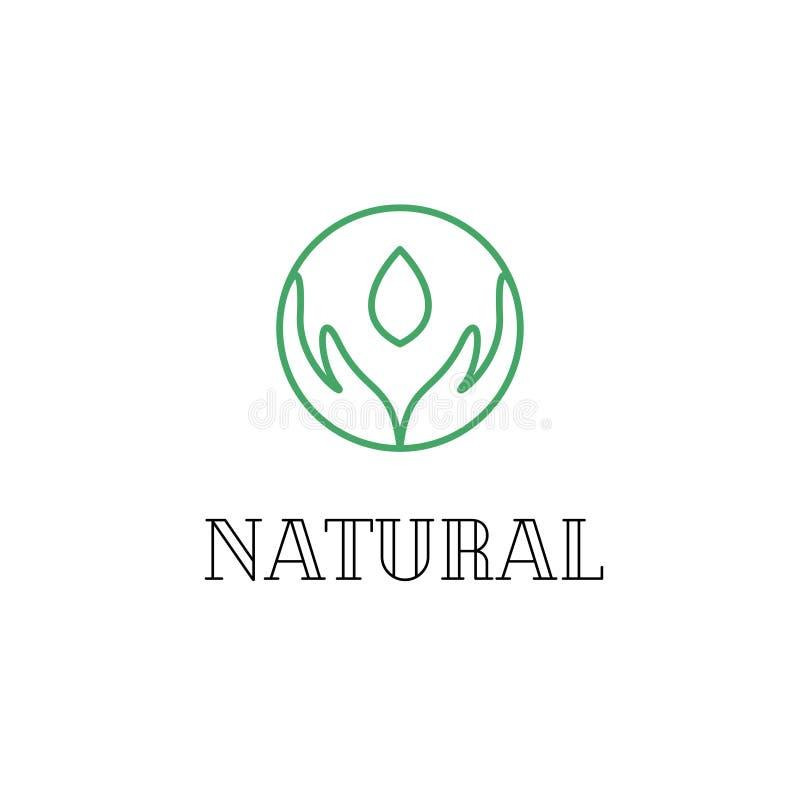 Handen lineair embleem voor natuurlijke kosmetische vector royalty-vrije illustratie