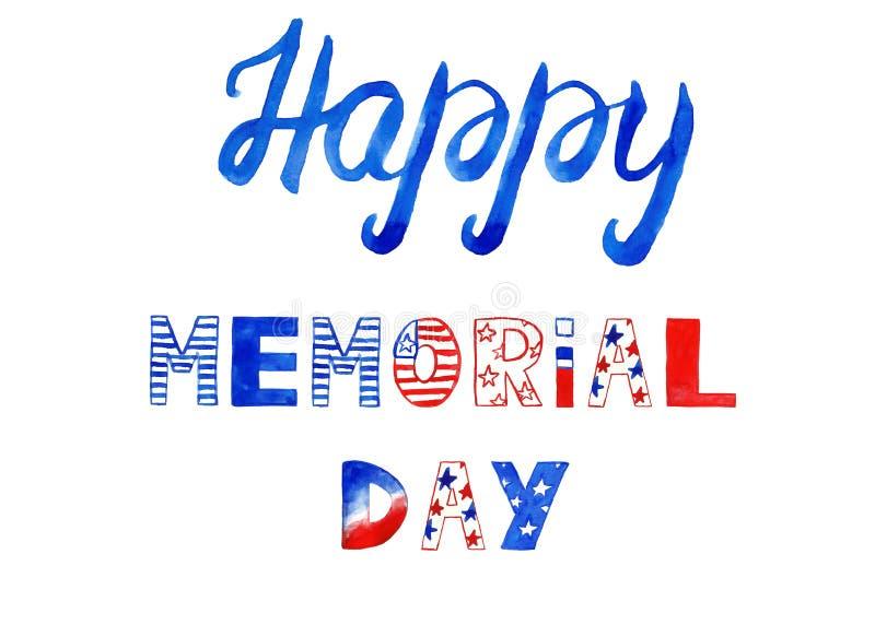 Handen målade banret för minnesdagen Hand som märker text som göras i röda, blåa och vita färger av amerikanska flaggan Vattenf?r royaltyfria bilder