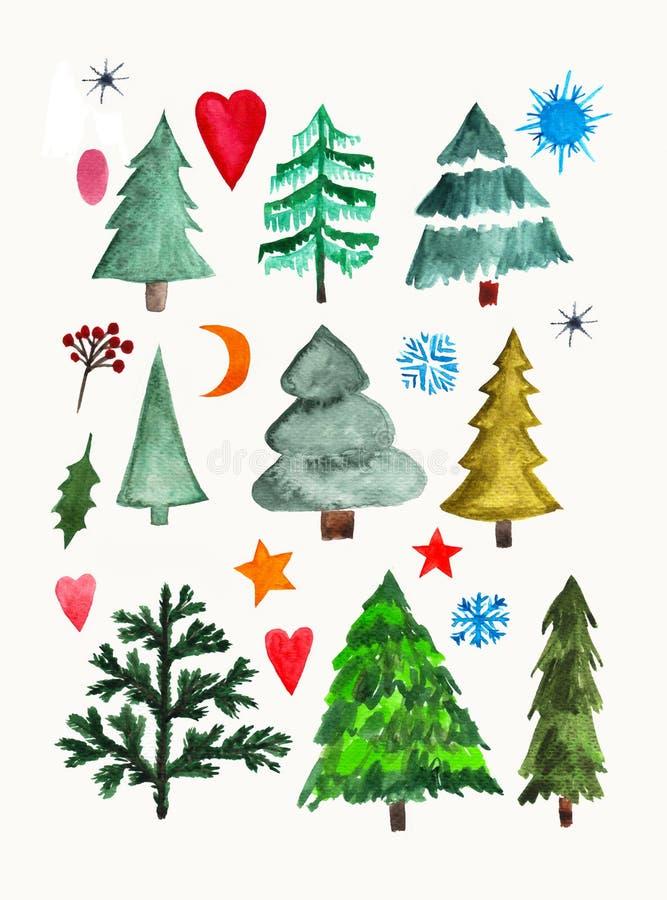Handen målade beståndsdelen för den grafiska designen för vattenfärgen Ställ in av träd, hjärtor och snöflingor vektor illustrationer