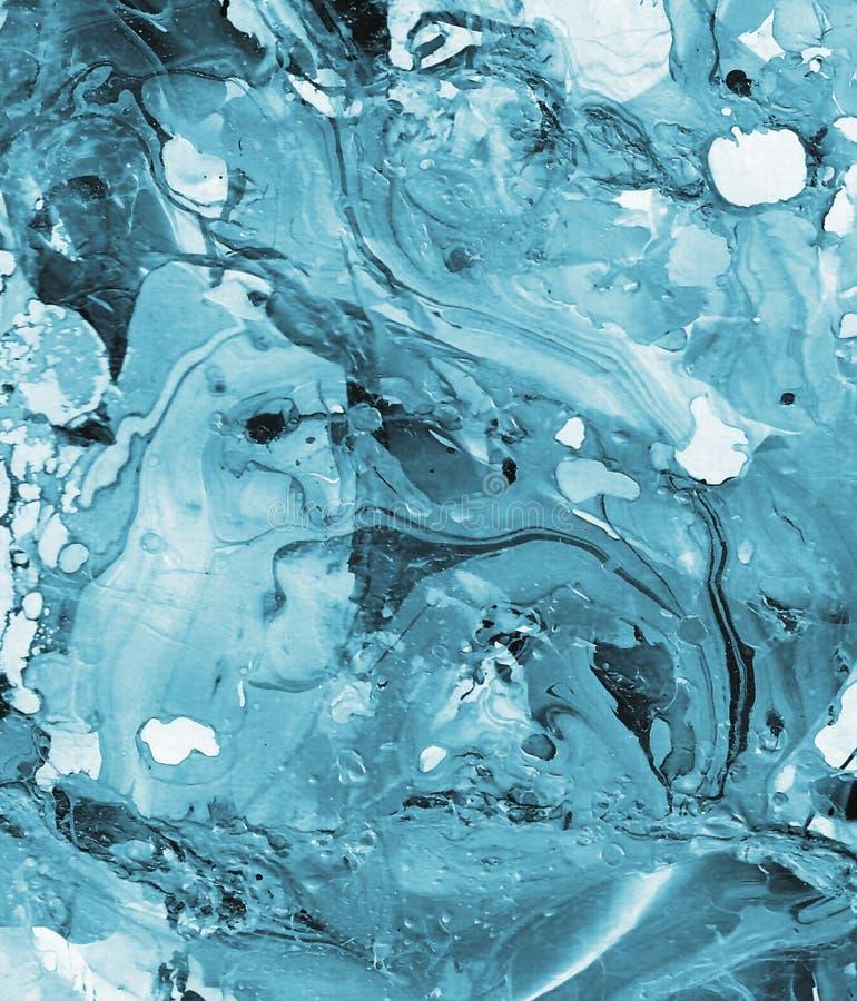 Handen målade blå abstrakt bakgrund royaltyfri illustrationer