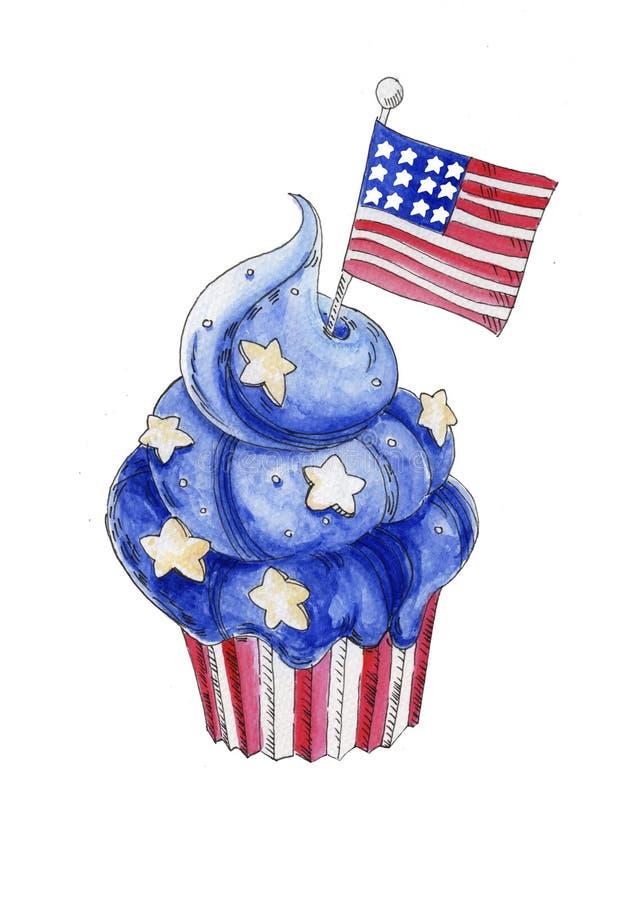 Handen målade den blåa patriotiska efterrätten för vattenfärgen royaltyfri illustrationer