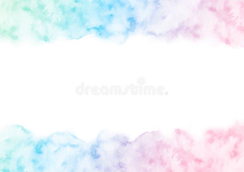 Handen målade den färgrika vattenfärgtexturramen som isolerades på den vita bakgrunden Vektorgränsmall för kort stock illustrationer