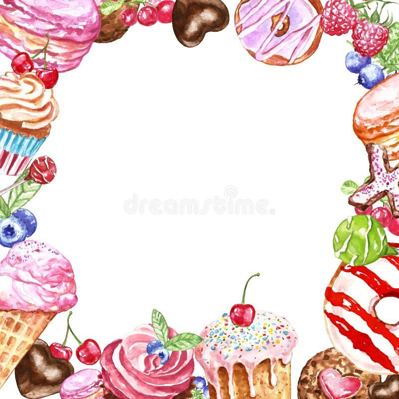 Handen målade den fyrkantiga ramen för smakliga efterrätter för kortdesignen, födelsedag Munk macaron, kakor, muffin, godisar på  vektor illustrationer