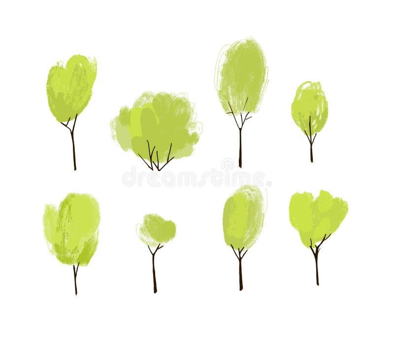 Handen målade den gröna träduppsättningen Samling av träd och buskar för hand utdragna med den texturerade överkanten stock illustrationer
