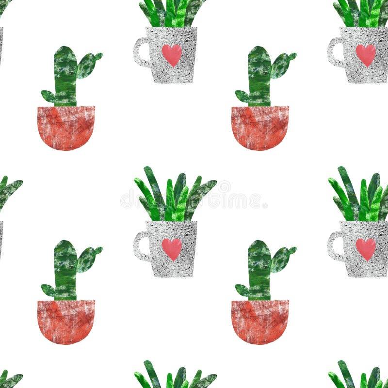 Handen målade den sömlösa modellen med kaktuns Botaniskt tryck för sommar med gulliga kaktushusväxter i blomkrukor på vit bakgrun vektor illustrationer