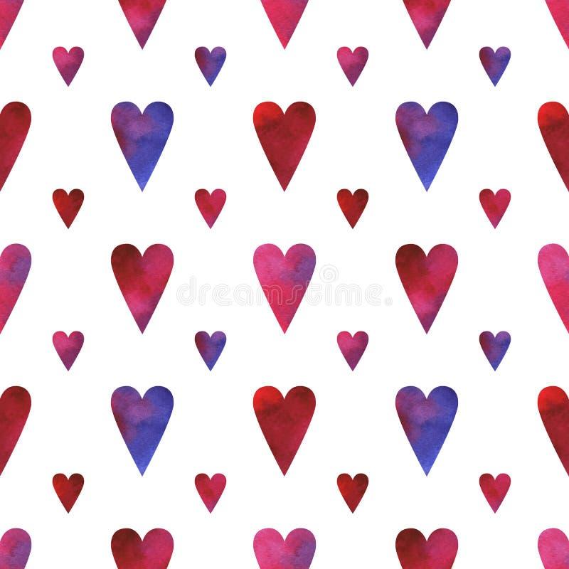Handen målade den sömlösa modellen med vattenfärghjärtor i blåa, rosa, röda och purpurfärgade färger som isolerades på vit bakgru royaltyfri illustrationer