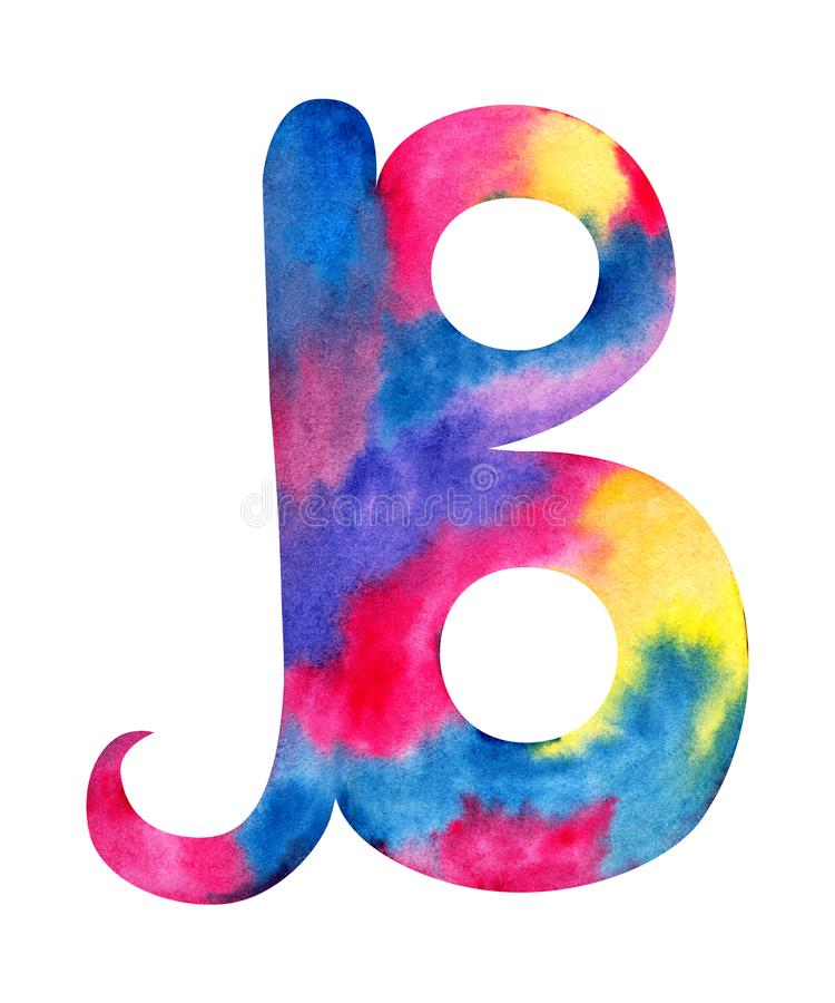 Handen m?lade f?rgst?nk f?r gentel f?r whit f?r bokstav B f?r vattenf?rg engelska rosa, bl?a, purpurf?rgade och gula vektor illustrationer