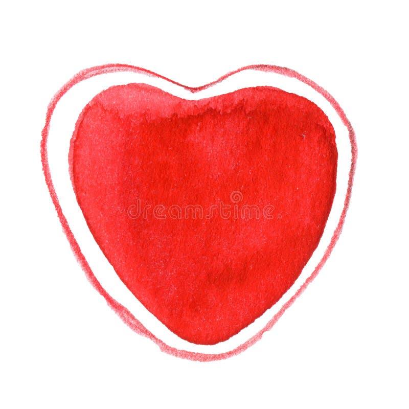Handen målade ljus röd vattenfärghjärta på vit royaltyfri illustrationer