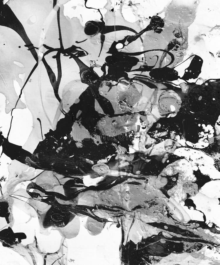 Handen målade svartvit abstrakt bakgrund med målarfärgfärgstänk stock illustrationer