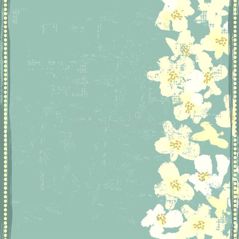 Handen målade texturerade vita våren blommar vertikal sömlös bo royaltyfri illustrationer
