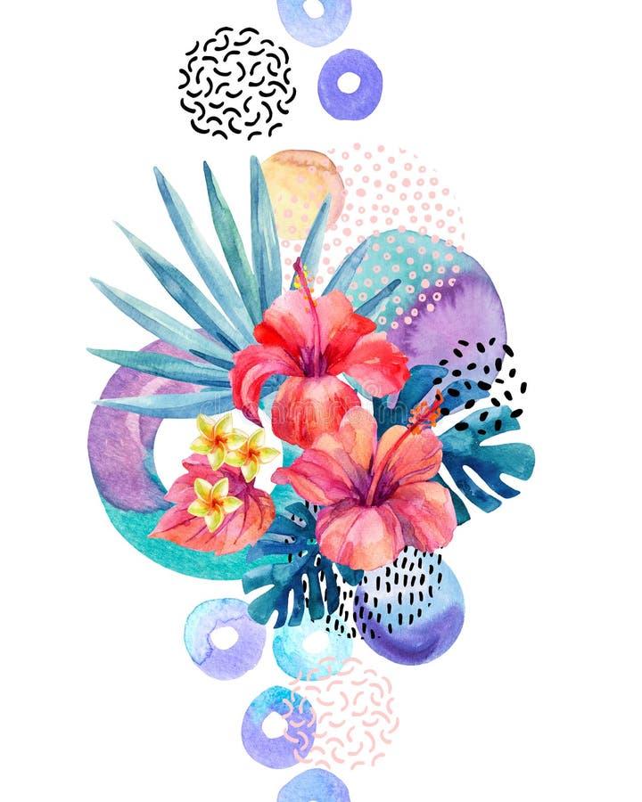 Handen målade tropiska blommor, fan gömma i handflatan, monsterasidor, klottertexturer, geometriska former i hipster, minsta stil stock illustrationer