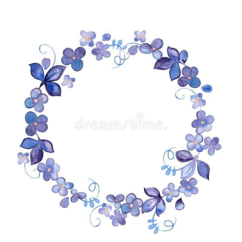 Handen målade vattenfärgen blommar kransen royaltyfri illustrationer