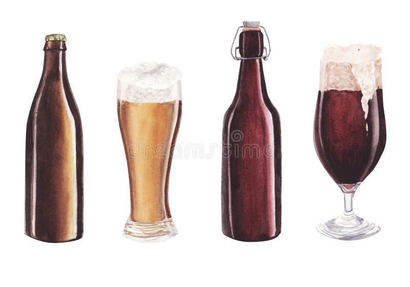 Handen målade vattenfärgexponeringsglas av öl- och flaskuppsättningen som isolerades på vit bakgrund vektor illustrationer