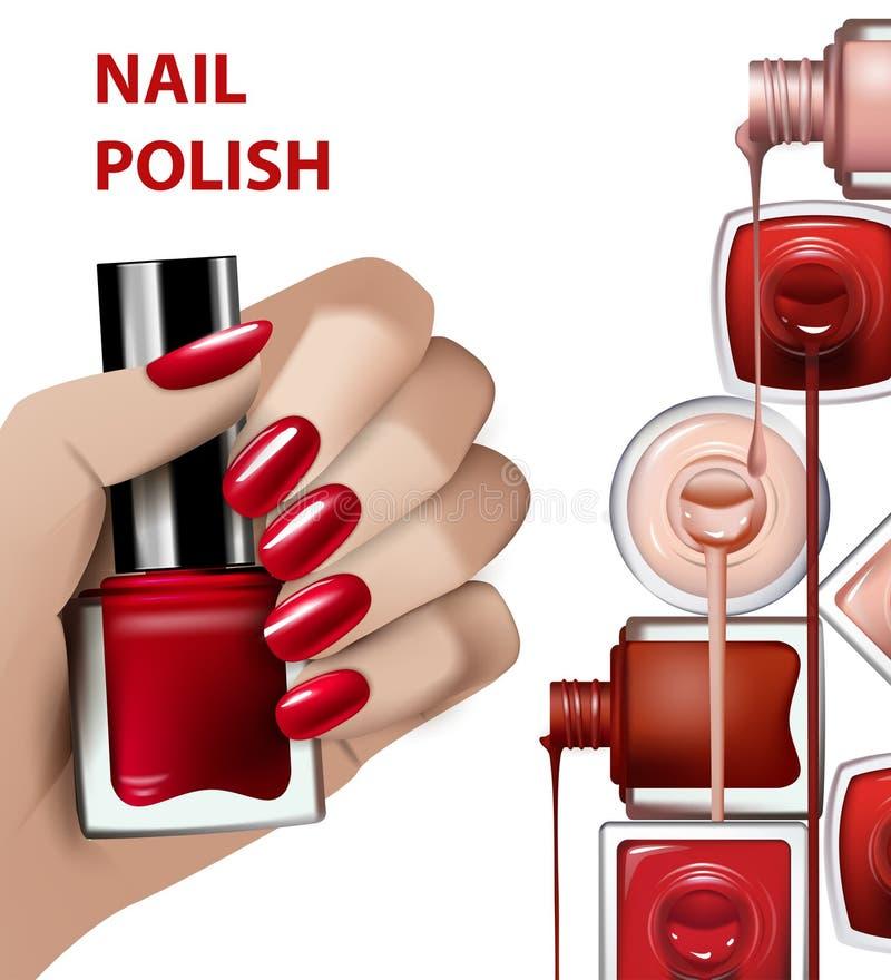 Handen med rött spikar polermedelflaskan Mallen som ska annonseras, spikar polishs Mode- och skönhetillustration kantlagrar låter vektor illustrationer