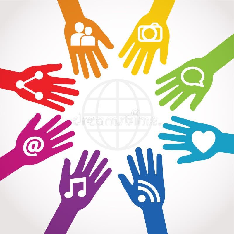 Handen met aandeel worden verbonden dat stock illustratie