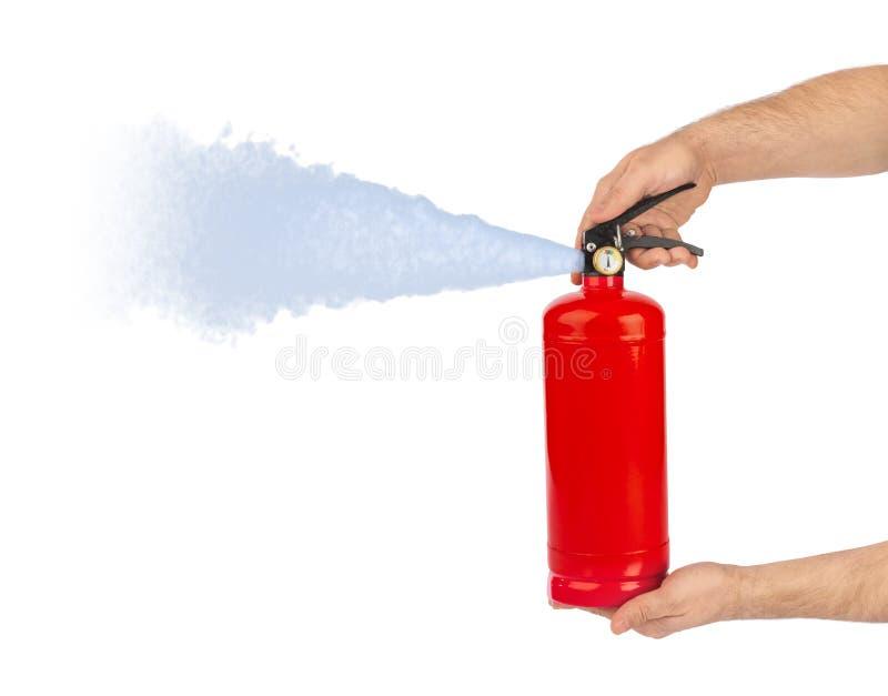 Handen met brandblusapparaat royalty-vrije stock fotografie