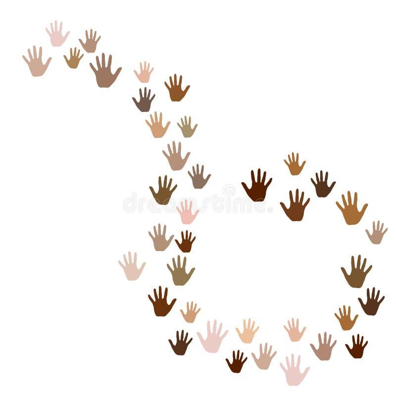 Handen met de diversiteits vectorachtergrond van de huidkleur vector illustratie