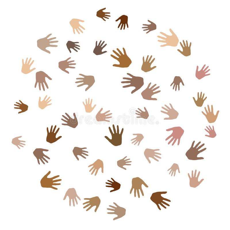 Handen met de diversiteits vectorachtergrond van de huidkleur De pictogrammen van het solidariteitsconcept, sociale, nationale, r stock illustratie