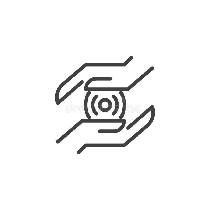 Handen met draadloos het overzichtspictogram van de verbindingsvlek vector illustratie