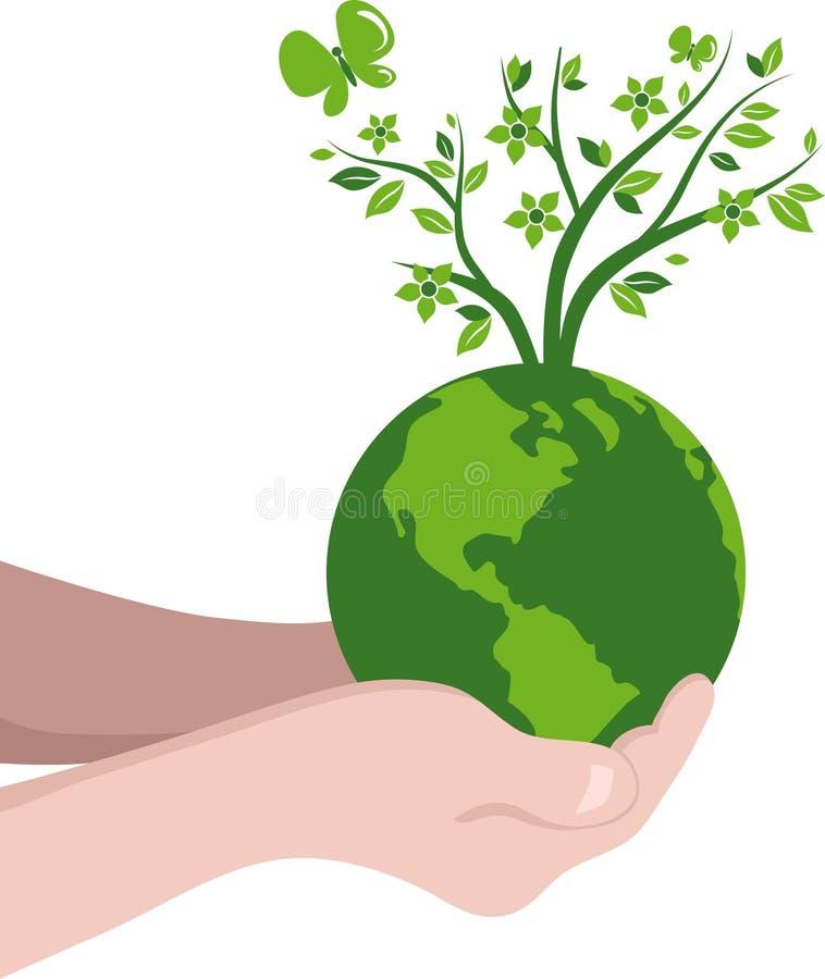 Handen met een groene bol stock illustratie