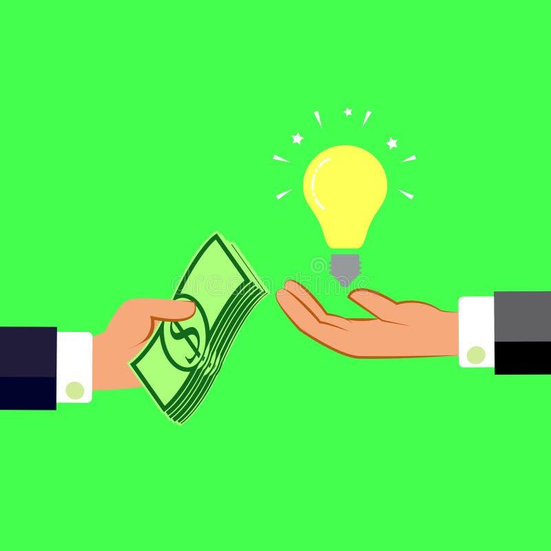 Handen met geld en gloeilamp Het ruilen van concept Vlakke ontwerpstijl stock illustratie
