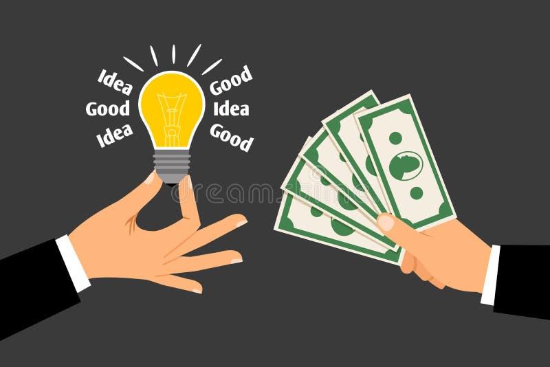 Handen met Geld en Idee Concept het ruilen van ideeën voor dollars royalty-vrije illustratie