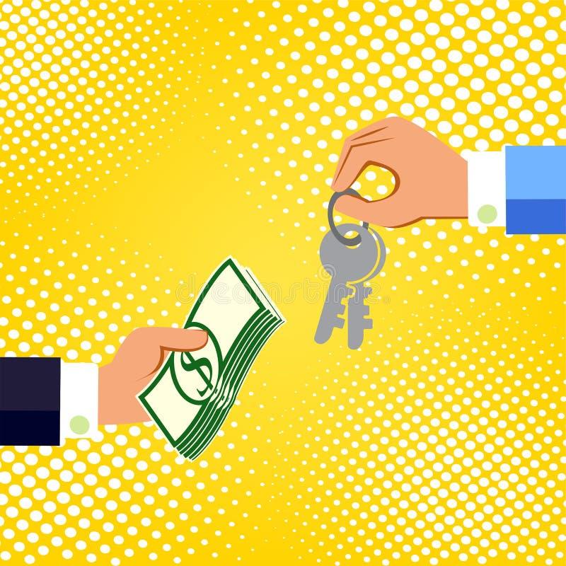 Handen met geld en sleutels Het ruilen van concept Vlakke ontwerpstijl royalty-vrije illustratie