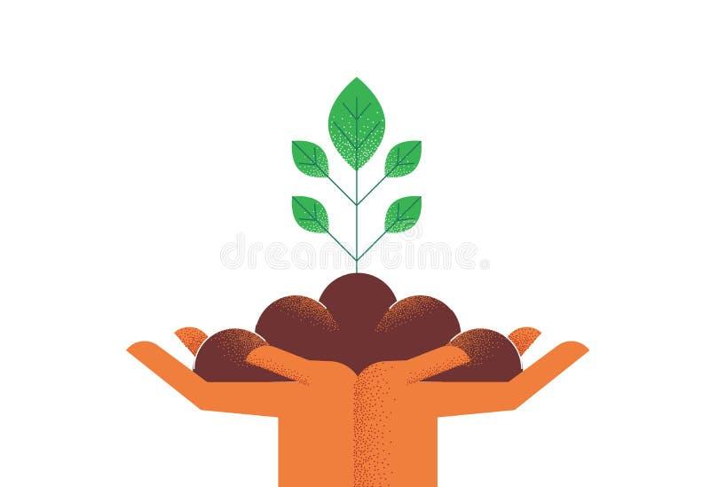 Handen met groene installatie voor het concept van de aardzorg royalty-vrije illustratie