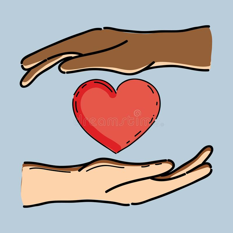 Handen met hart in midle aan celebretevrijheid royalty-vrije illustratie