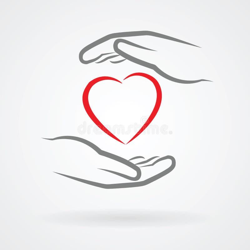 Handen met hartsymbool royalty-vrije illustratie