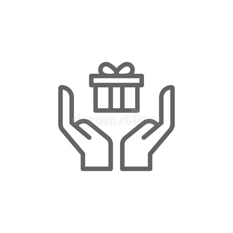Handen met het pictogram van het de giftoverzicht van de moedersdag Element van de illustratiepictogram van de moedersdag De teke stock illustratie