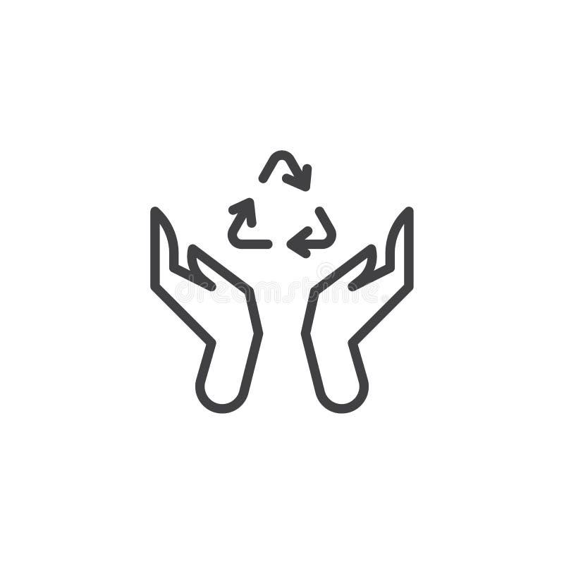 Handen met het recycling van het pictogram van de pijlenlijn vector illustratie