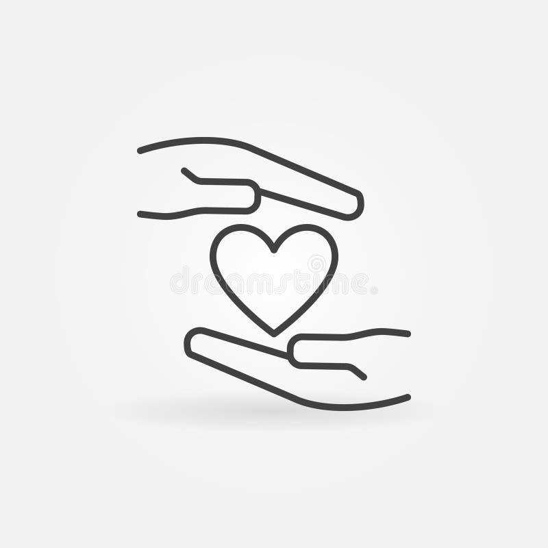 Handen met het het vectorpictogram of teken van het hartoverzicht royalty-vrije illustratie