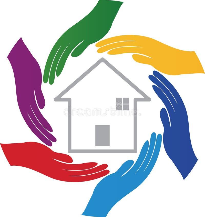 Handen met huis stock illustratie
