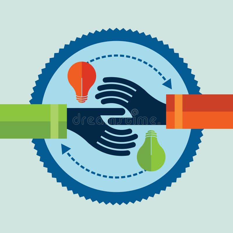 Handen met ideebol Het ruilen van concept vector illustratie