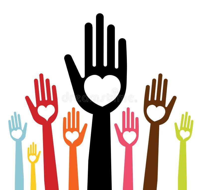 Handen met liefde vector illustratie