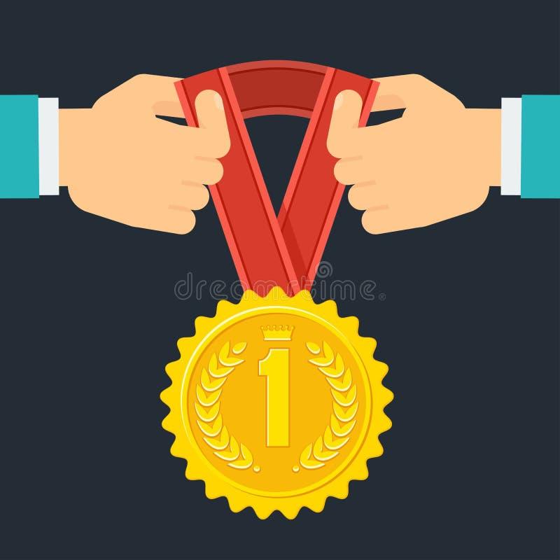 Handen met medaille royalty-vrije illustratie